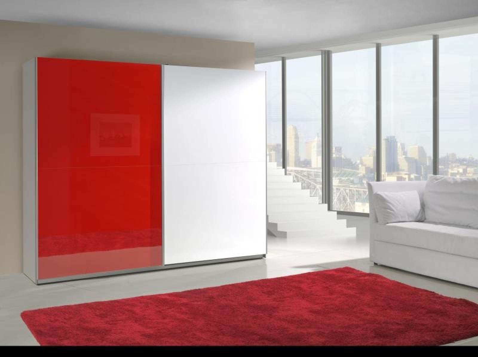 Kleiderschrank schiebetüren weiß hochglanz  KAUFEXPERT - Schwebetürenschrank 244 cm Prestige 15 Rot Weiß ...