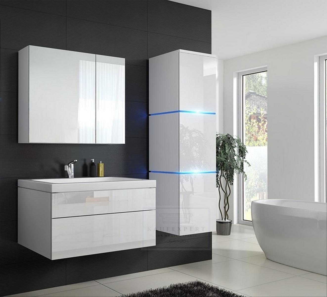 Badmöbel-Set Lux 1 NEW Weiß Hochglanz KERAMIK Waschbecken Badezimmer Led  Beleuchtung Badezimmermöbel Keramikbecken