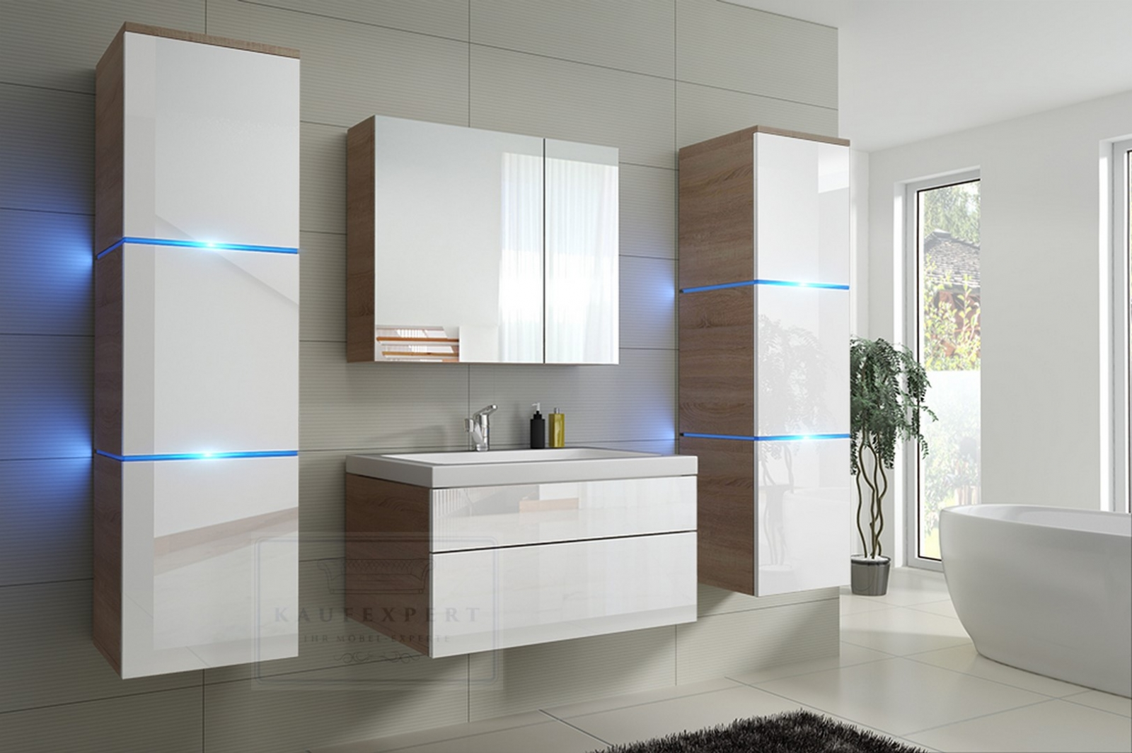 kaufexpert badm bel set lux new grau hochglanz wei keramik waschbecken badezimmer led. Black Bedroom Furniture Sets. Home Design Ideas