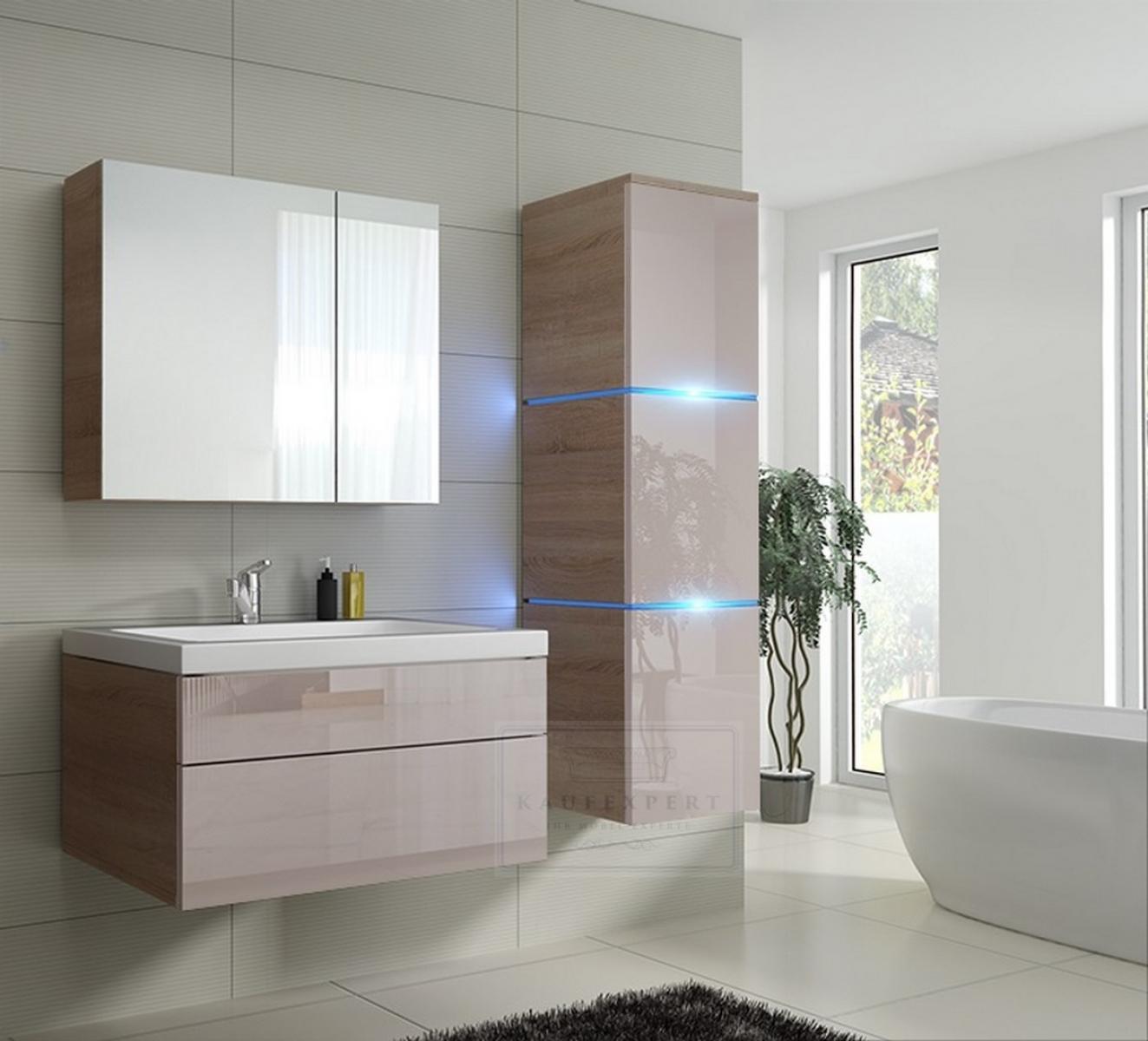 Badezimmermobel Waschbecken.Kaufexpert Badmobel Set Lux 1 New Cappuccino Hochglanz Sonoma