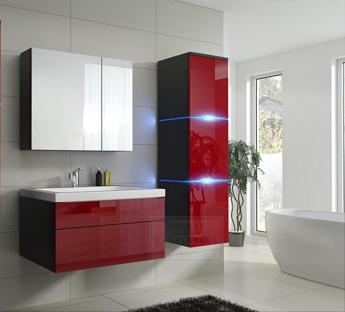 Favorit KAUFEXPERT - Badmöbel-Set Lux 1 NEW Rot Hochglanz/Schwarz KERAMIK AY17