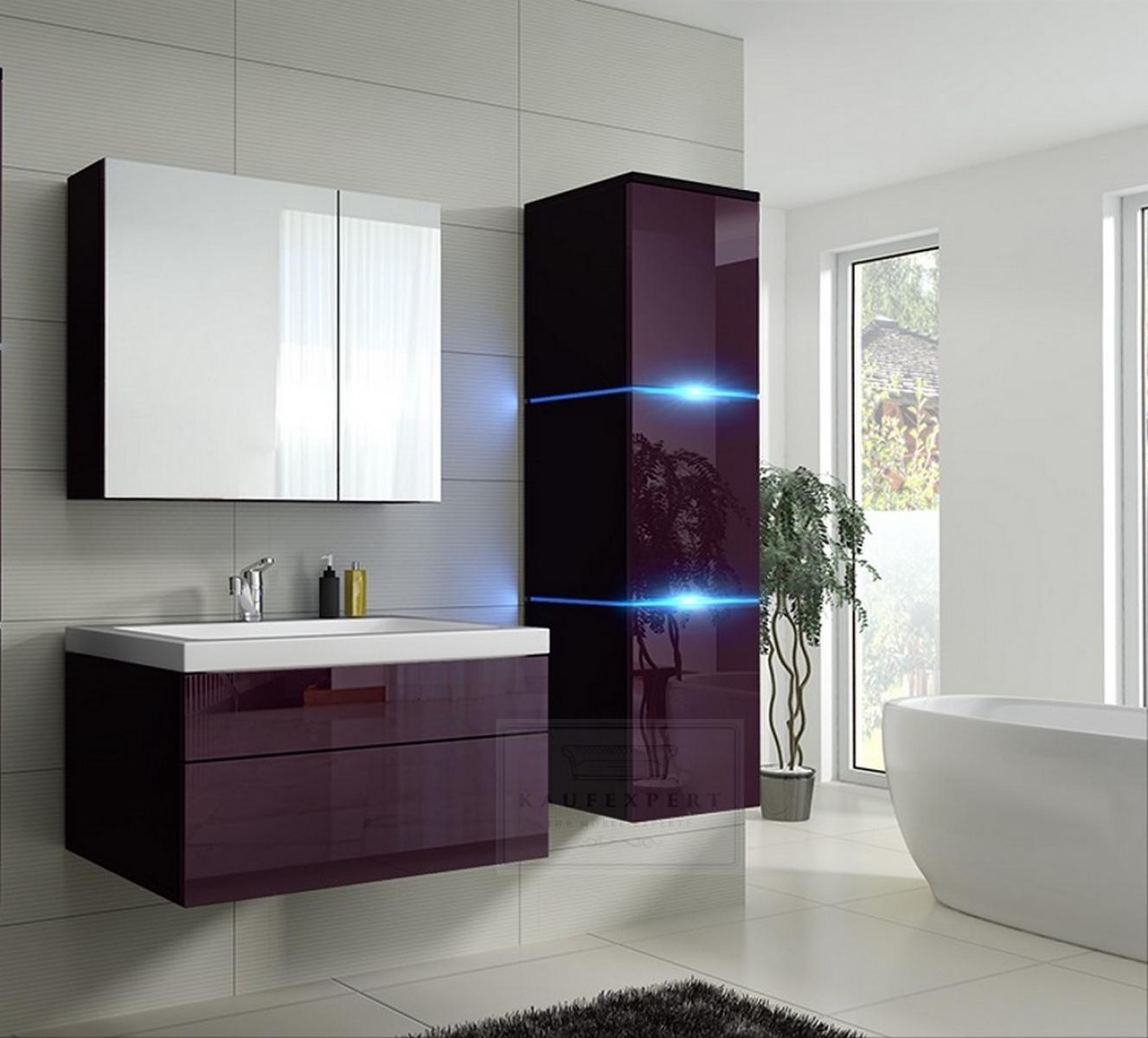 Badmöbel-Set Lux 1 NEW Aubergine Hochglanz/Schwarz KERAMIK Waschbecken  Badezimmer Led Beleuchtung Badezimmermöbel Keramikbecken