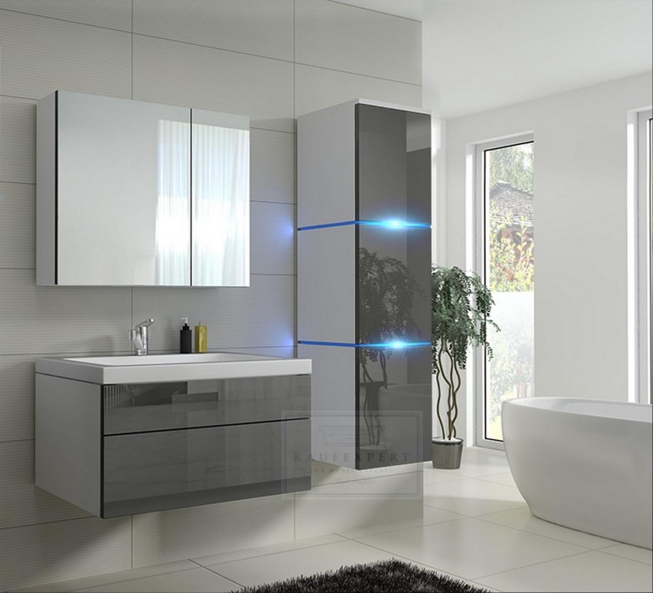 Badmöbel-Set Lux 1 NEW Grau Hochglanz/Weiß KERAMIK Waschbecken Badezimmer  Led Beleuchtung Badezimmermöbel Keramikbecken