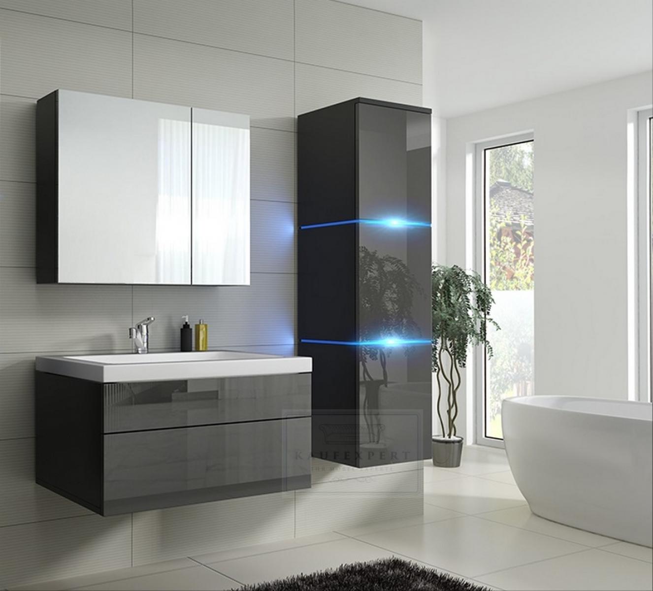 kaufexpert badm bel set lux 1 new grau hochglanz schwarz keramik waschbecken badezimmer led. Black Bedroom Furniture Sets. Home Design Ideas