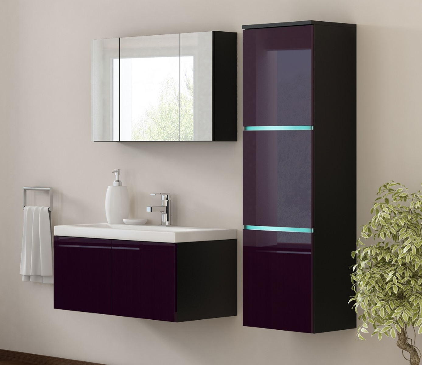kaufexpert badm bel set werner xxl 1 aubergine hochglanz. Black Bedroom Furniture Sets. Home Design Ideas