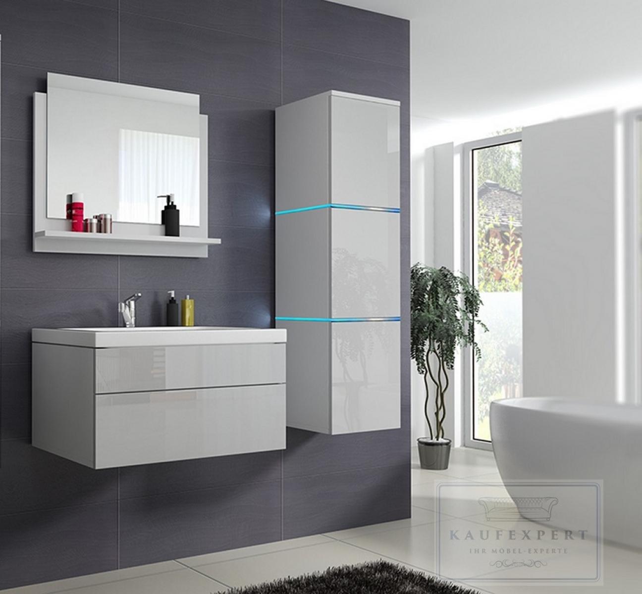 kaufexpert - badmöbel-set lux 1 weiß hochglanz keramik waschbecken, Badezimmer