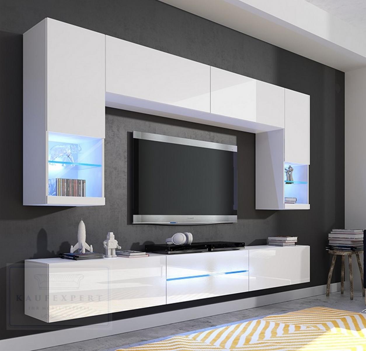 Wohnwand Anbauwand Weiß Hochglanz Mediawand Design LED Beleuchtung
