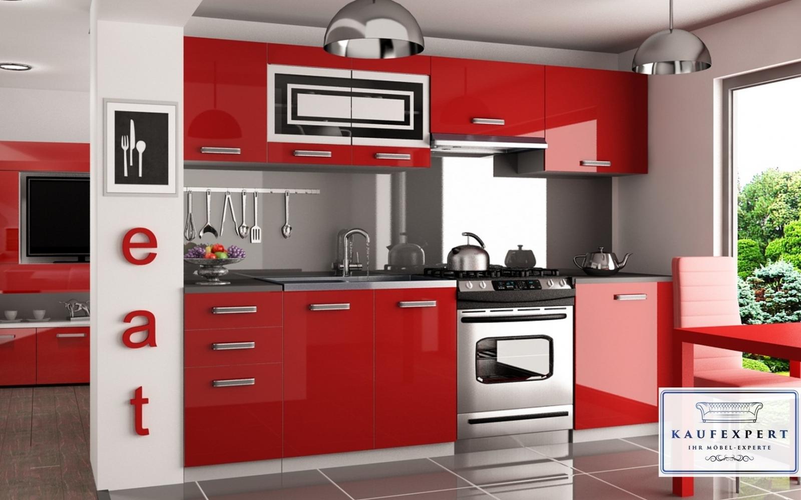 Arbeitsplatte rot  KAUFEXPERT - Küchenzeile Moderno O Rot Hochglanz 240 cm Küche ...