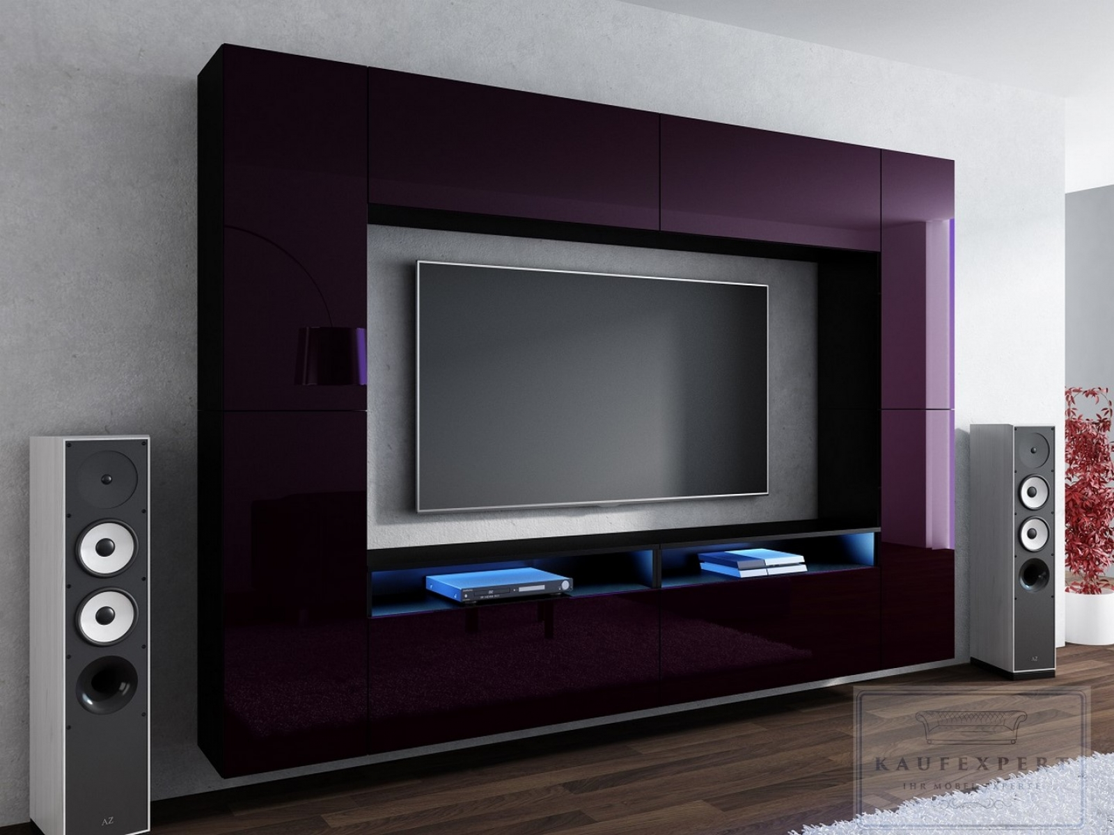 kaufexpert wohnwand cinema aubergine hochglanz schwarz mediawand medienwand design modern led. Black Bedroom Furniture Sets. Home Design Ideas