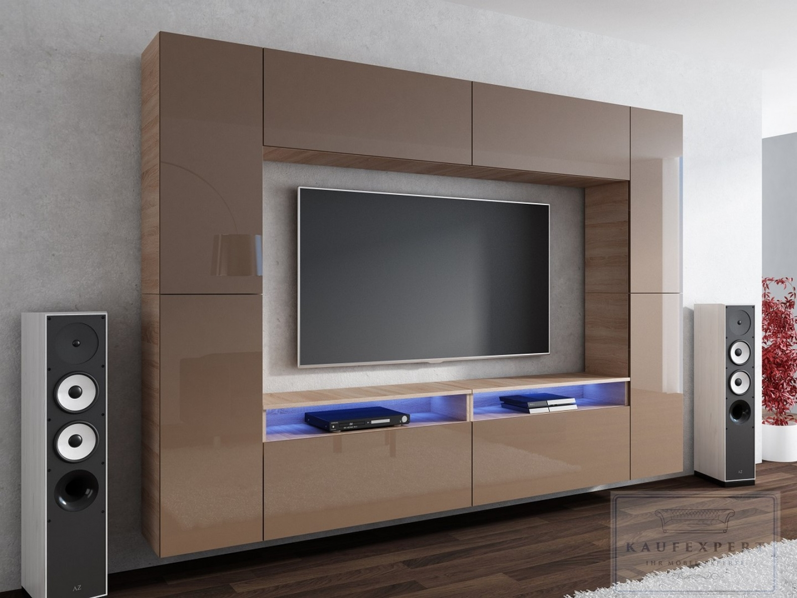 kaufexpert wohnwand cinema cappuccino hochglanz sonoma eiche 280 cm mediawand medienwand. Black Bedroom Furniture Sets. Home Design Ideas