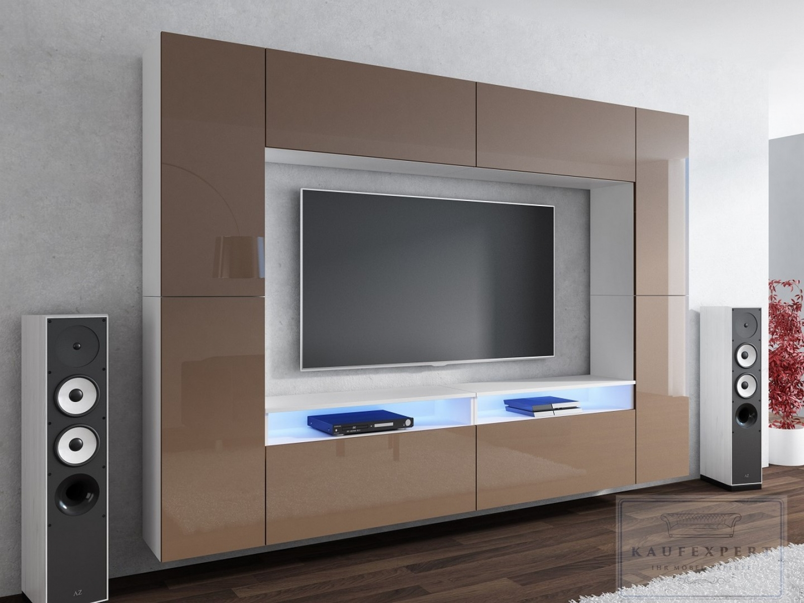 kaufexpert wohnwand cinema cappuccino hochglanz wei 280 cm mediawand medienwand design modern. Black Bedroom Furniture Sets. Home Design Ideas