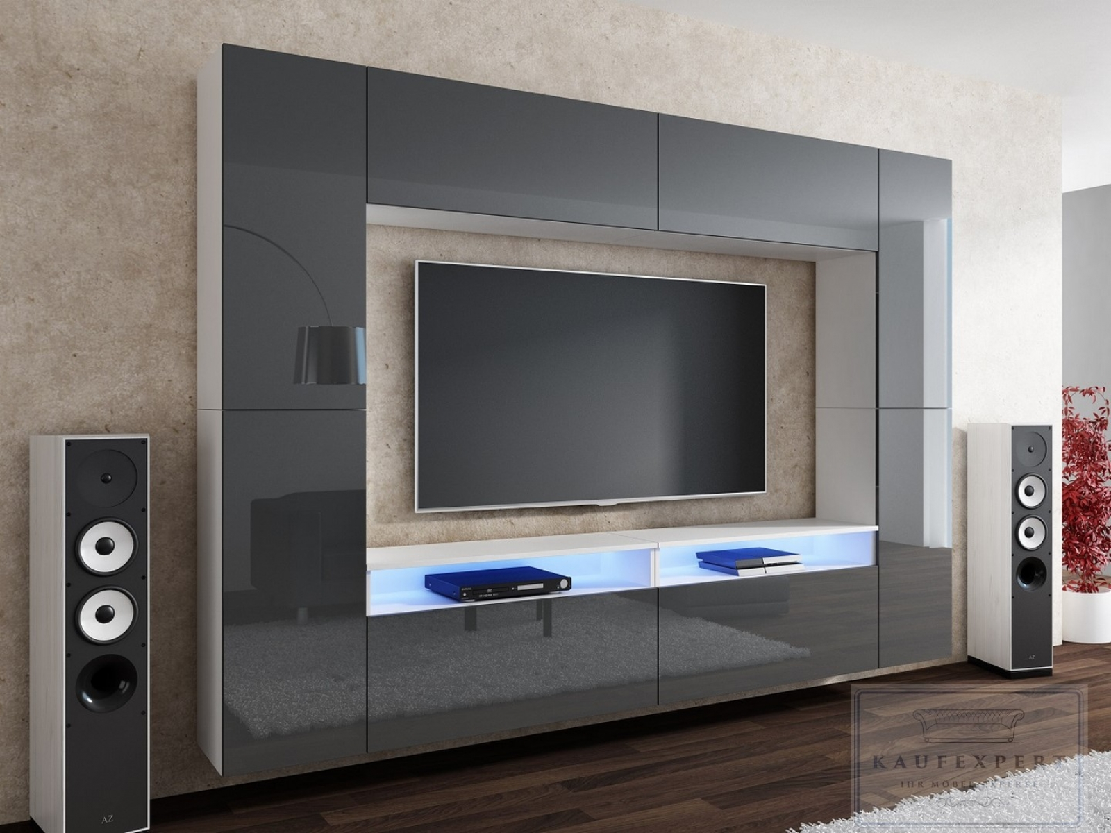 kaufexpert wohnwand cinema grau hochglanz wei mediawand medienwand design modern led. Black Bedroom Furniture Sets. Home Design Ideas