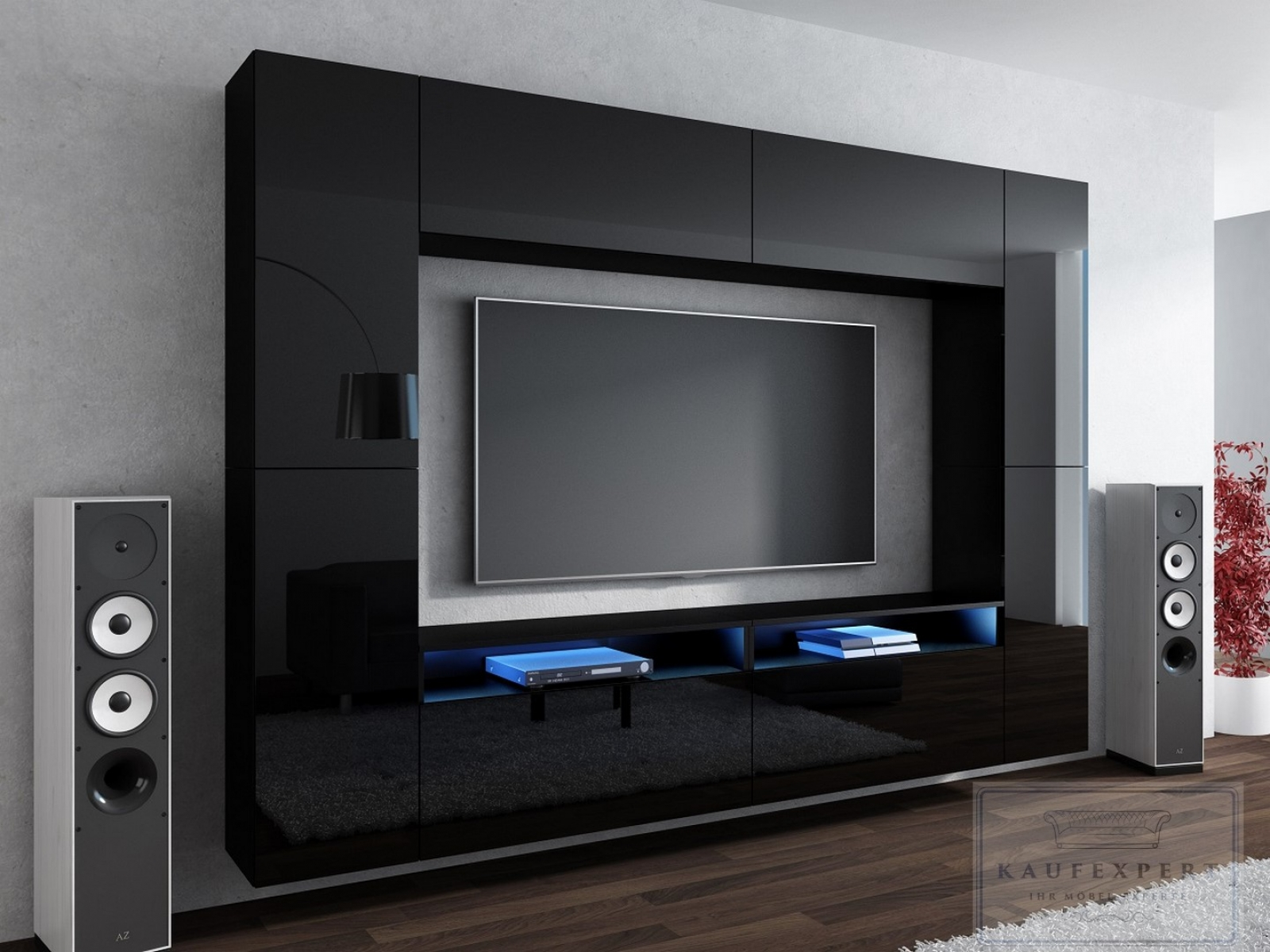 kaufexpert wohnwand cinema schwarz hochglanz 280 cm mediawand medienwand design modern led. Black Bedroom Furniture Sets. Home Design Ideas