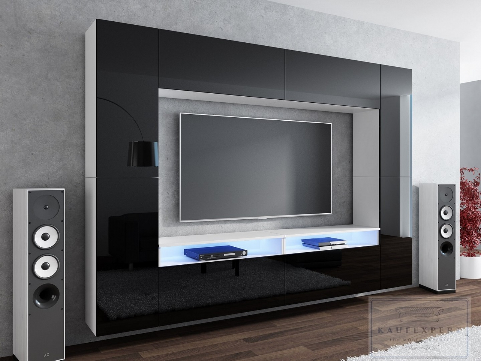kaufexpert wohnwand cinema schwarz hochglanz wei mediawand medienwand design modern led. Black Bedroom Furniture Sets. Home Design Ideas