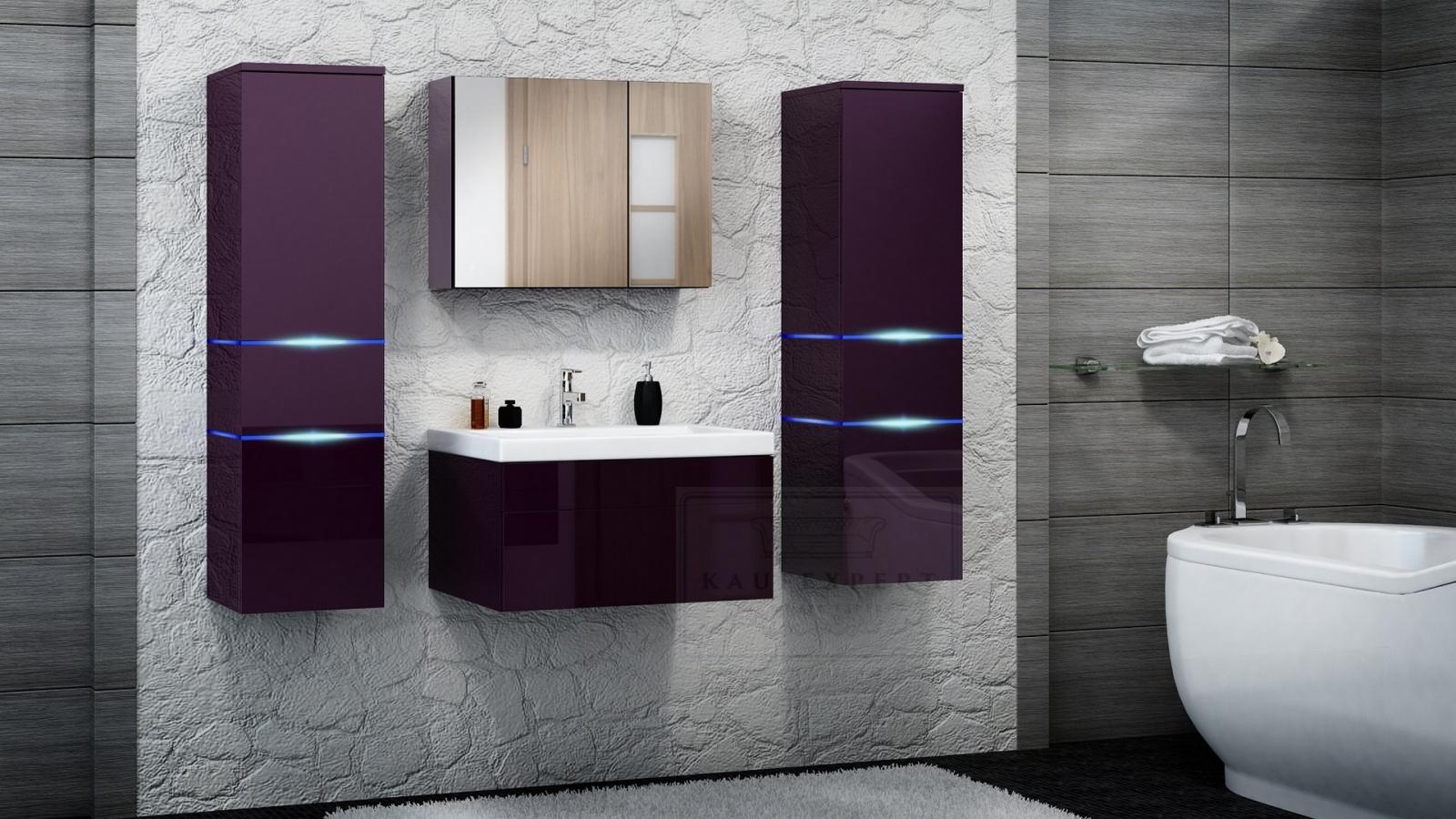 kaufexpert - badmöbel-set prestige aubergine hochglanz lackiert, Badezimmer