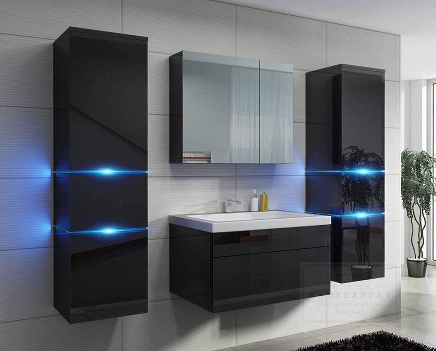kaufexpert badm bel set prestige schwarz hochglanz lackiert keramik waschbecken badezimmer led. Black Bedroom Furniture Sets. Home Design Ideas