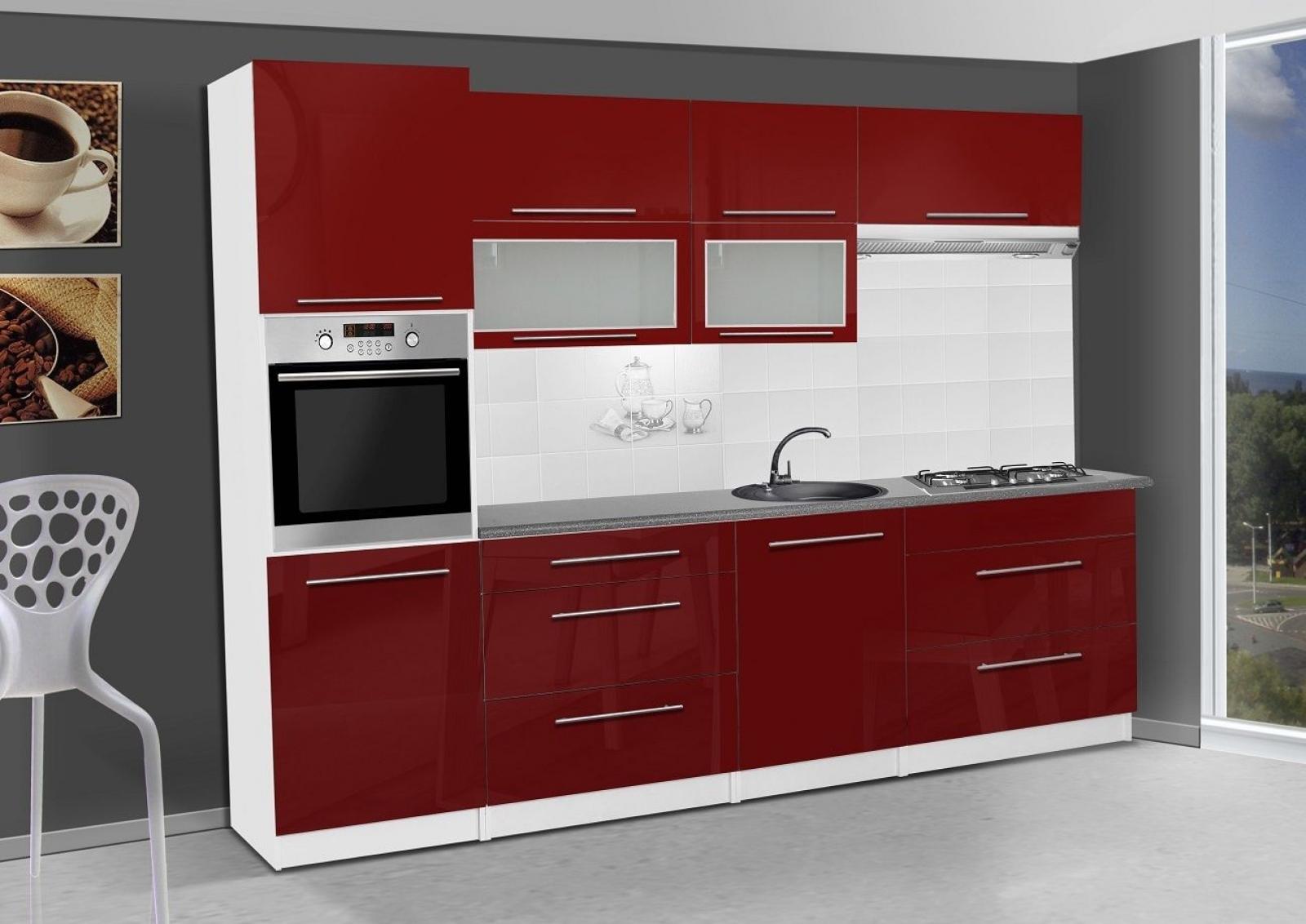 Hervorragend KAUFEXPERT - Küchenzeile Elena Rot Hochglanz 300 cm Küche  JK26