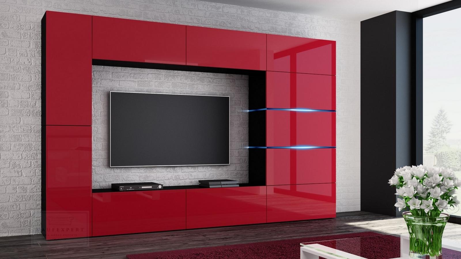 Kaufexpert wohnwand shadow rot hochglanz schwarz 285 cm - Anbauwand modern ...