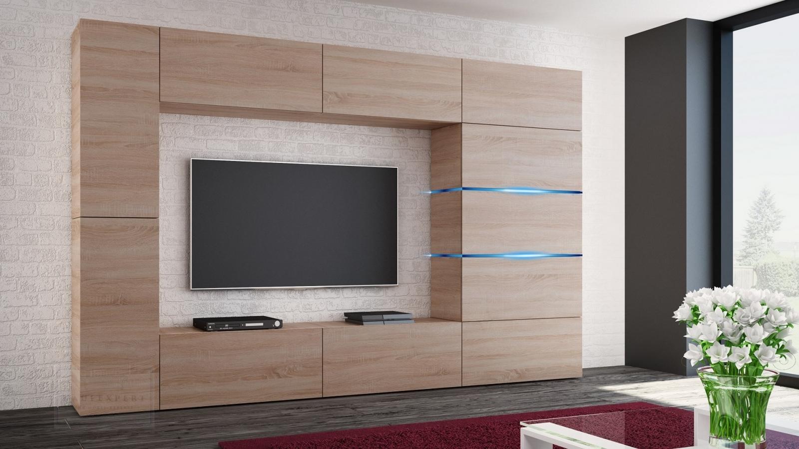 kaufexpert wohnwand shadow sonoma eiche 285 cm mediawand anbauwand medienwand design modern. Black Bedroom Furniture Sets. Home Design Ideas