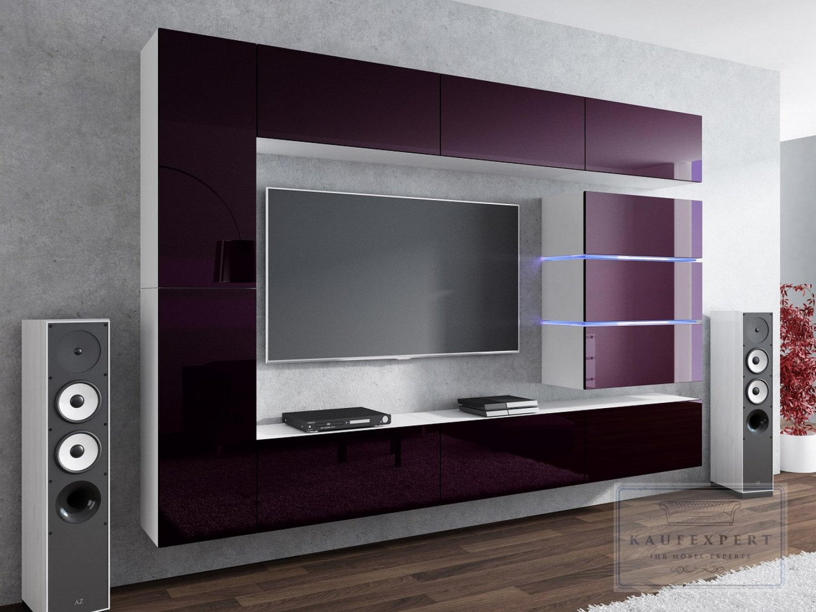 kaufexpert wohnwand shine aubergine hochglanz wei 284 cm mediawand medienwand design modern. Black Bedroom Furniture Sets. Home Design Ideas