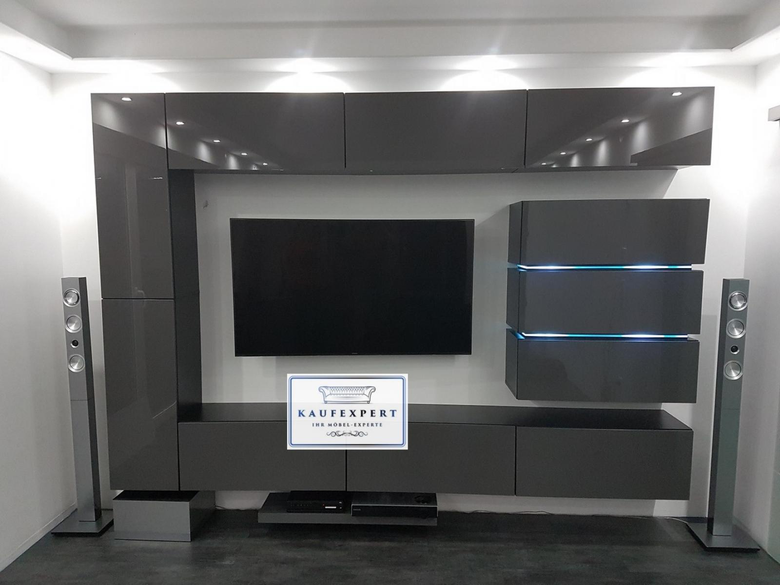 KAUFEXPERT   Wohnwand Shine Grau Hochglanz/Schwarz 284 Cm Mediawand  Medienwand Design Modern Led Beleuchtung MDF Hochglanz Hängewand  Hängeschrank TV Wand