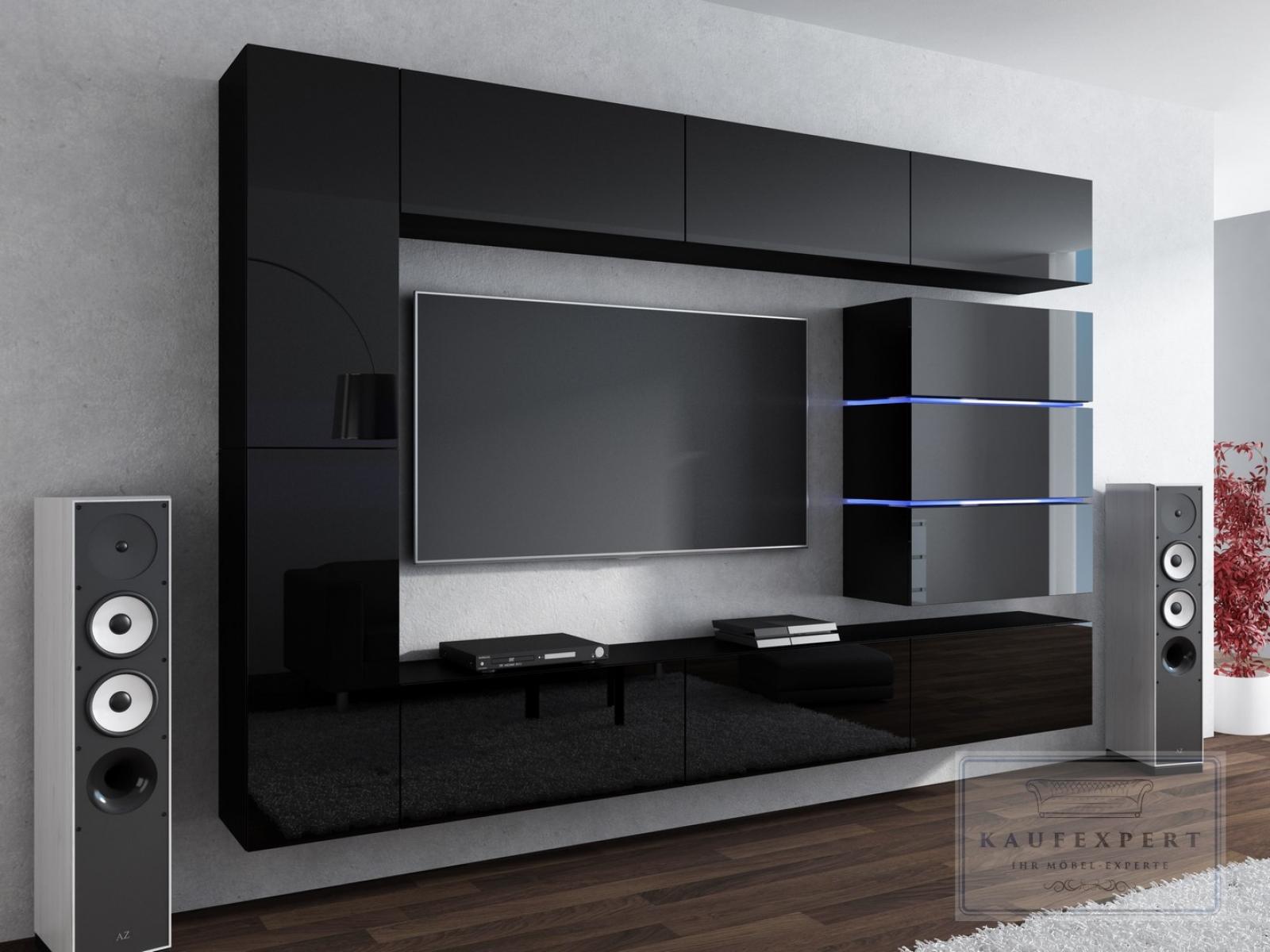 kaufexpert wohnwand shine schwarz hochglanz 284 cm mediawand medienwand design modern led. Black Bedroom Furniture Sets. Home Design Ideas