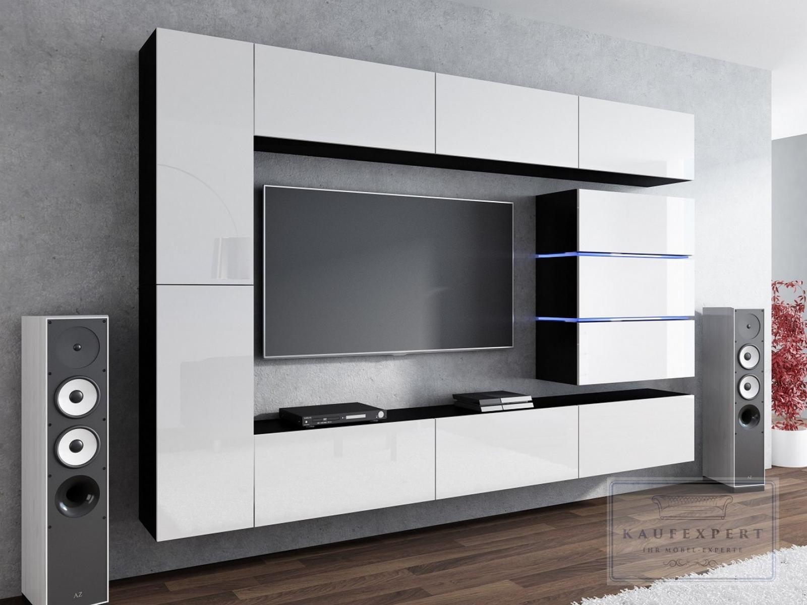 Wohnwand Shine Weiß Hochglanz Schwarz 284 Cm Mediawand Medienwand Design Modern Led Beleuchtung Mdf Hochglanz Hängewand Hängeschrank Tv Wand