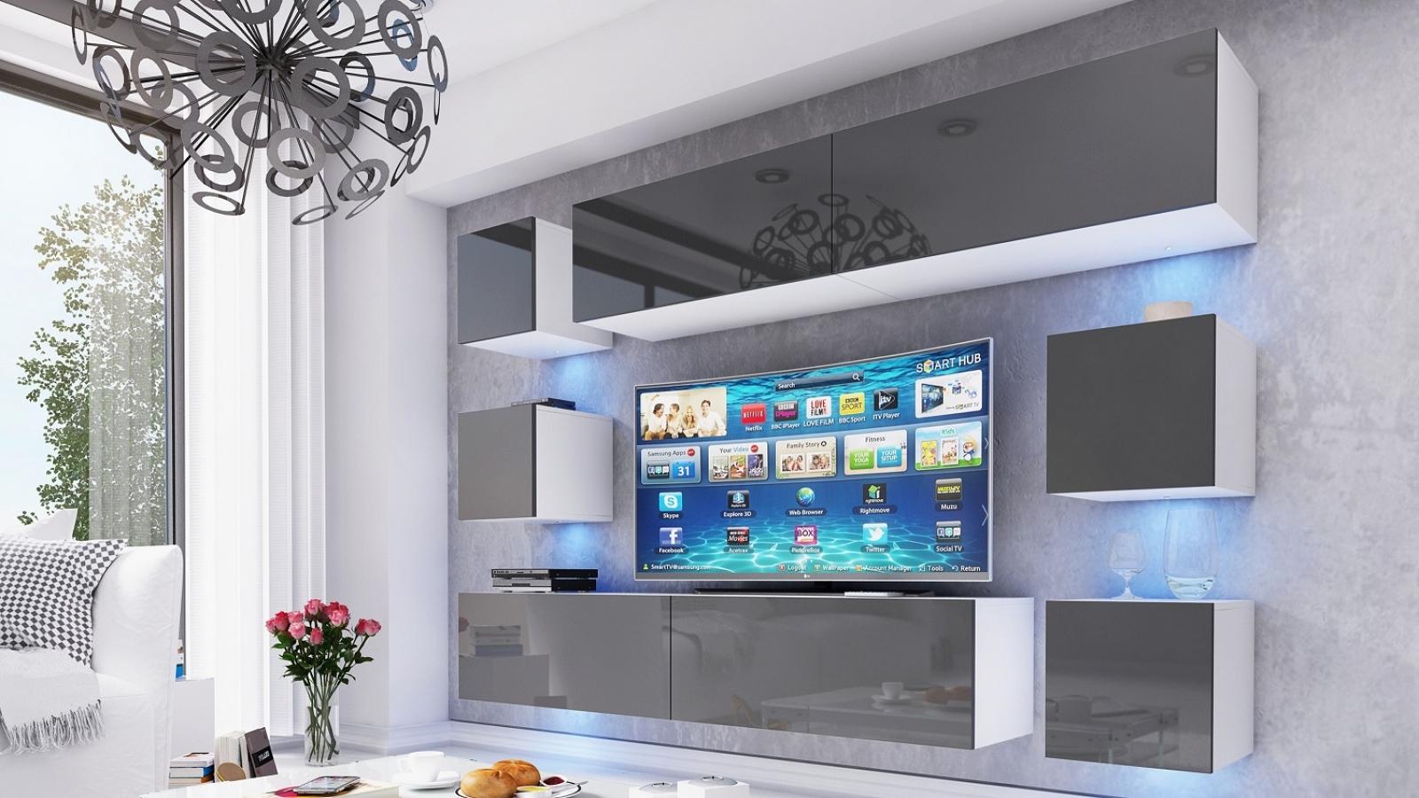 Wohnwand Swirl Grau Hochglanz/Weiß 249 Cm Mediawand Medienwand Design  Modern Led Beleuchtung MDF Hochglanz