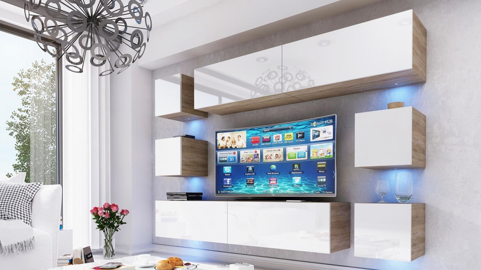 kaufexpert wohnwand swirl wei hochglanz sonoma eiche 249 cm mediawand medienwand design. Black Bedroom Furniture Sets. Home Design Ideas