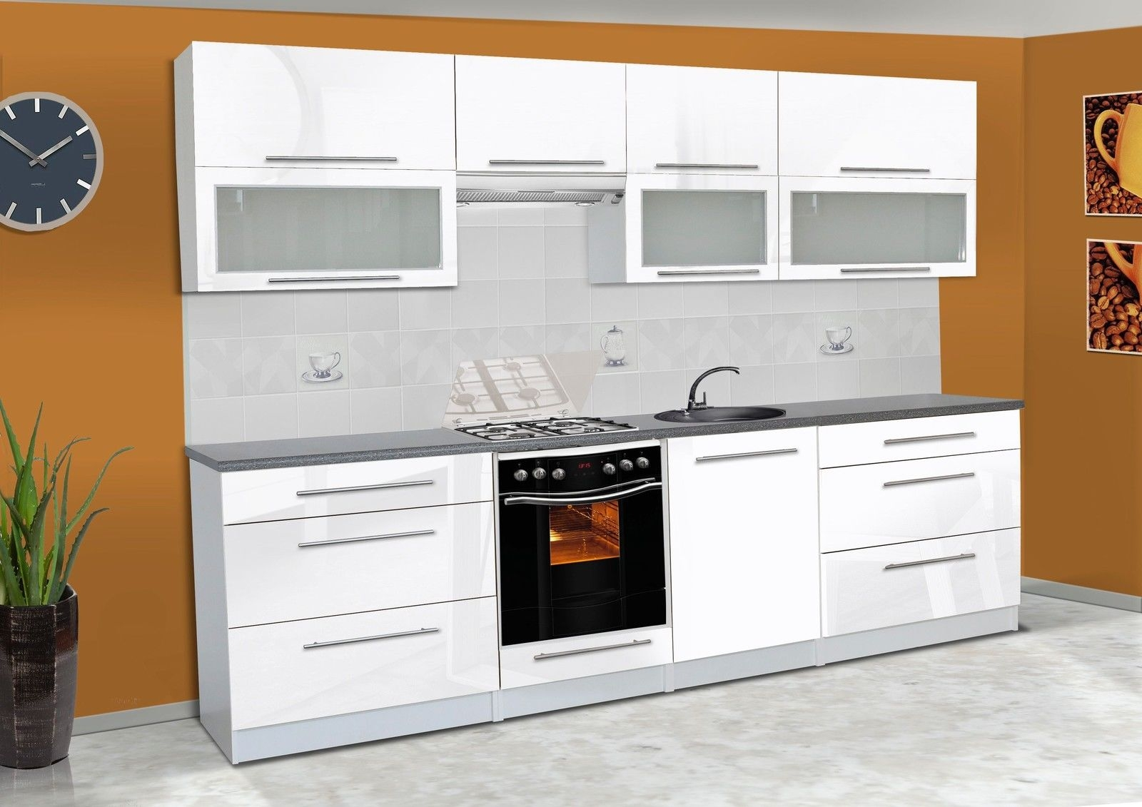 KAUFEXPERT - Küchenzeile Alice Weiß Hochglanz 280 cm Küche ... | {Küchenblock modern hochglanz 84}