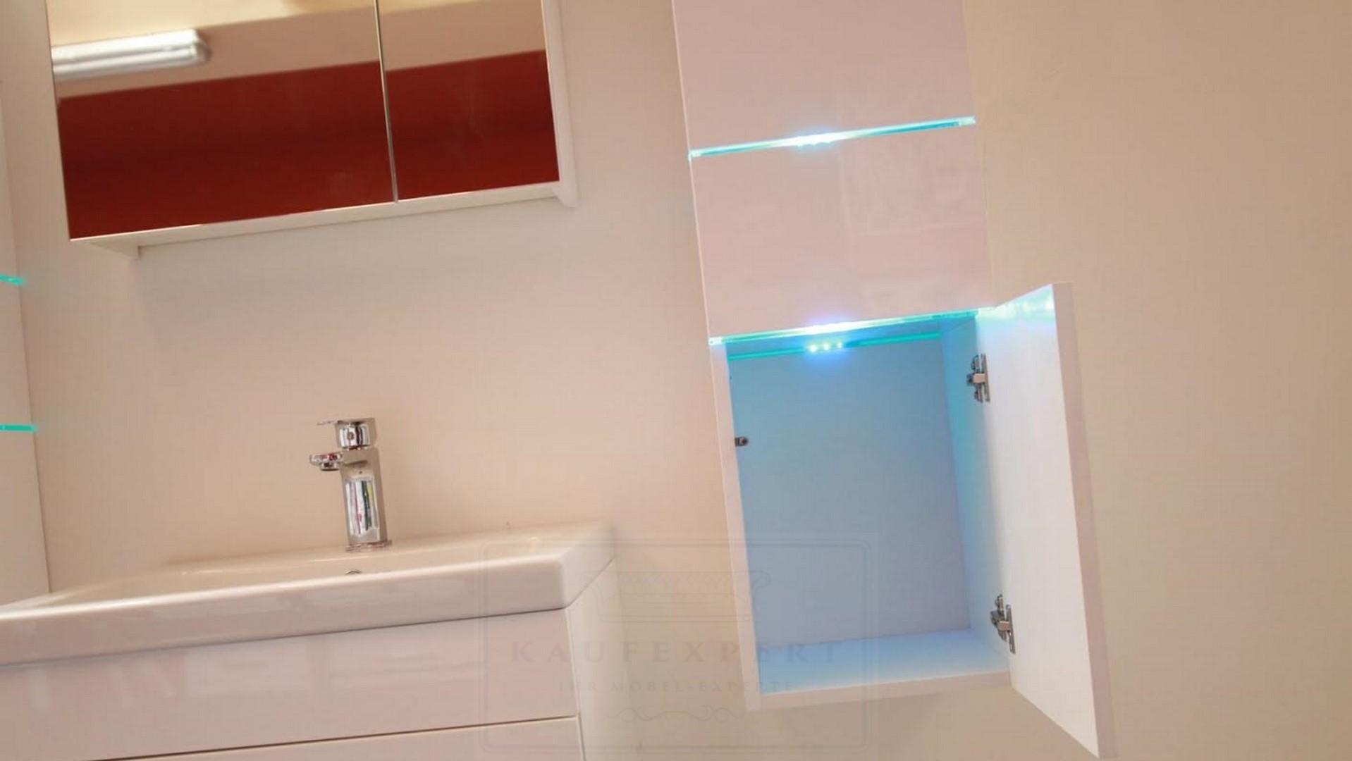 Badmöbel Set Prestige Weiß Hochglanz Lackiert KERAMIK Waschbecken Badezimmer  Led Beleuchtung Badezimmermöbel Lack Spiegelschrank