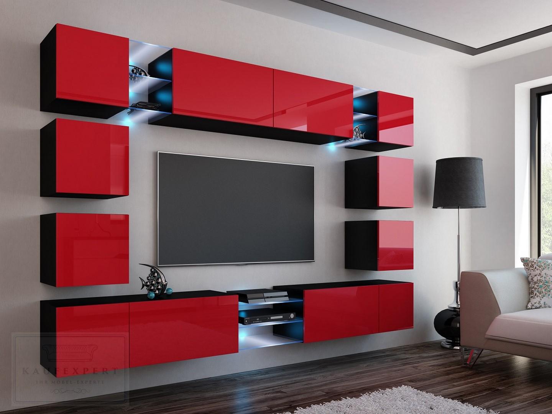 kaufexpert wohnwand edge rot hochglanz schwarz mediawand medienwand design modern led. Black Bedroom Furniture Sets. Home Design Ideas