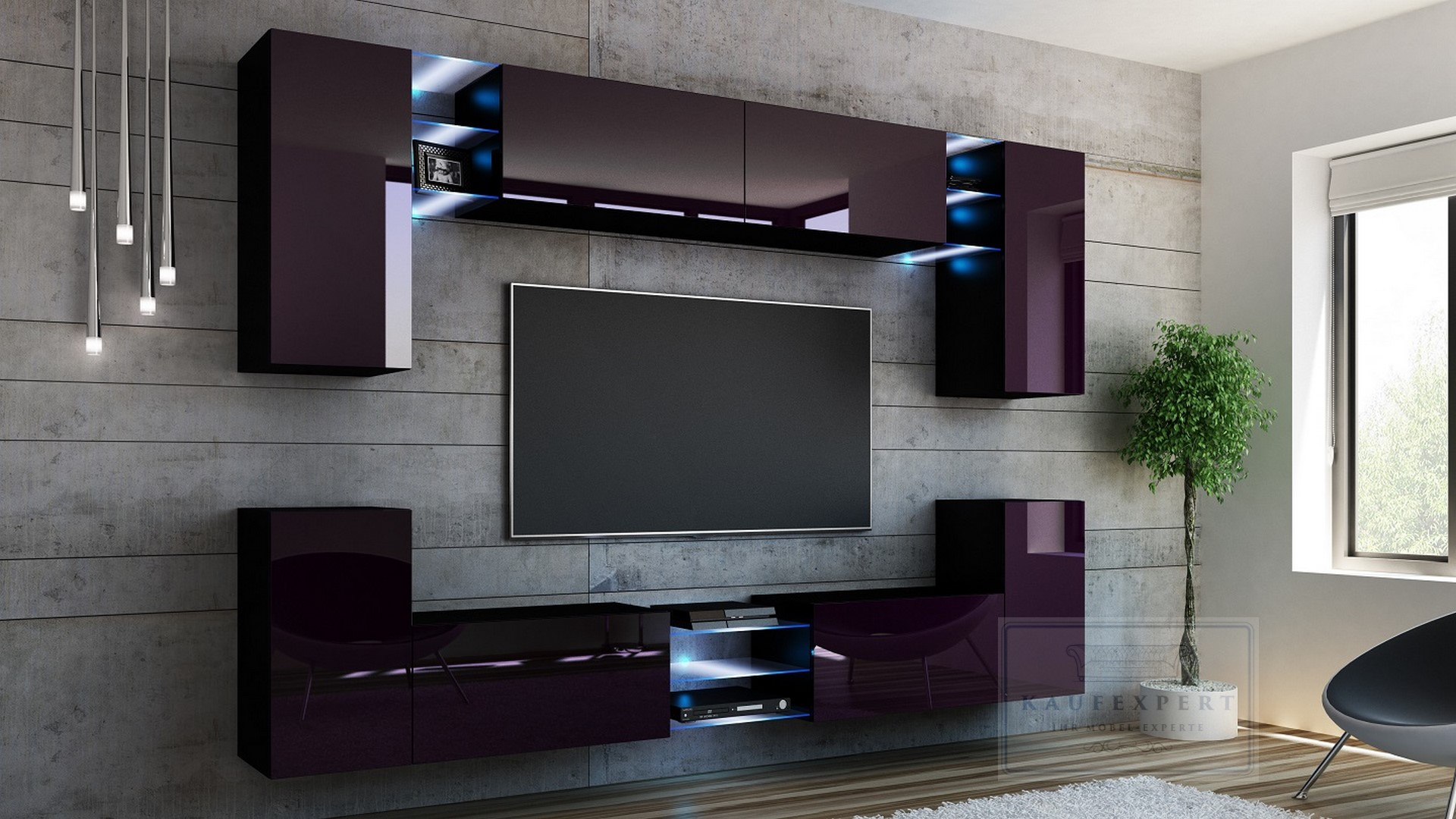 kaufexpert wohnwand galaxy aubergine hochglanz schwarz mediawand medienwand design modern led. Black Bedroom Furniture Sets. Home Design Ideas