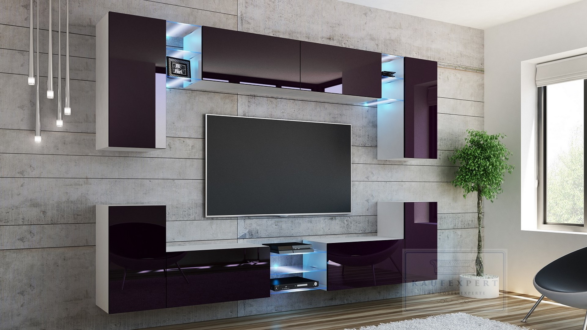 kaufexpert wohnwand galaxy aubergine hochglanz wei mediawand medienwand design modern led. Black Bedroom Furniture Sets. Home Design Ideas