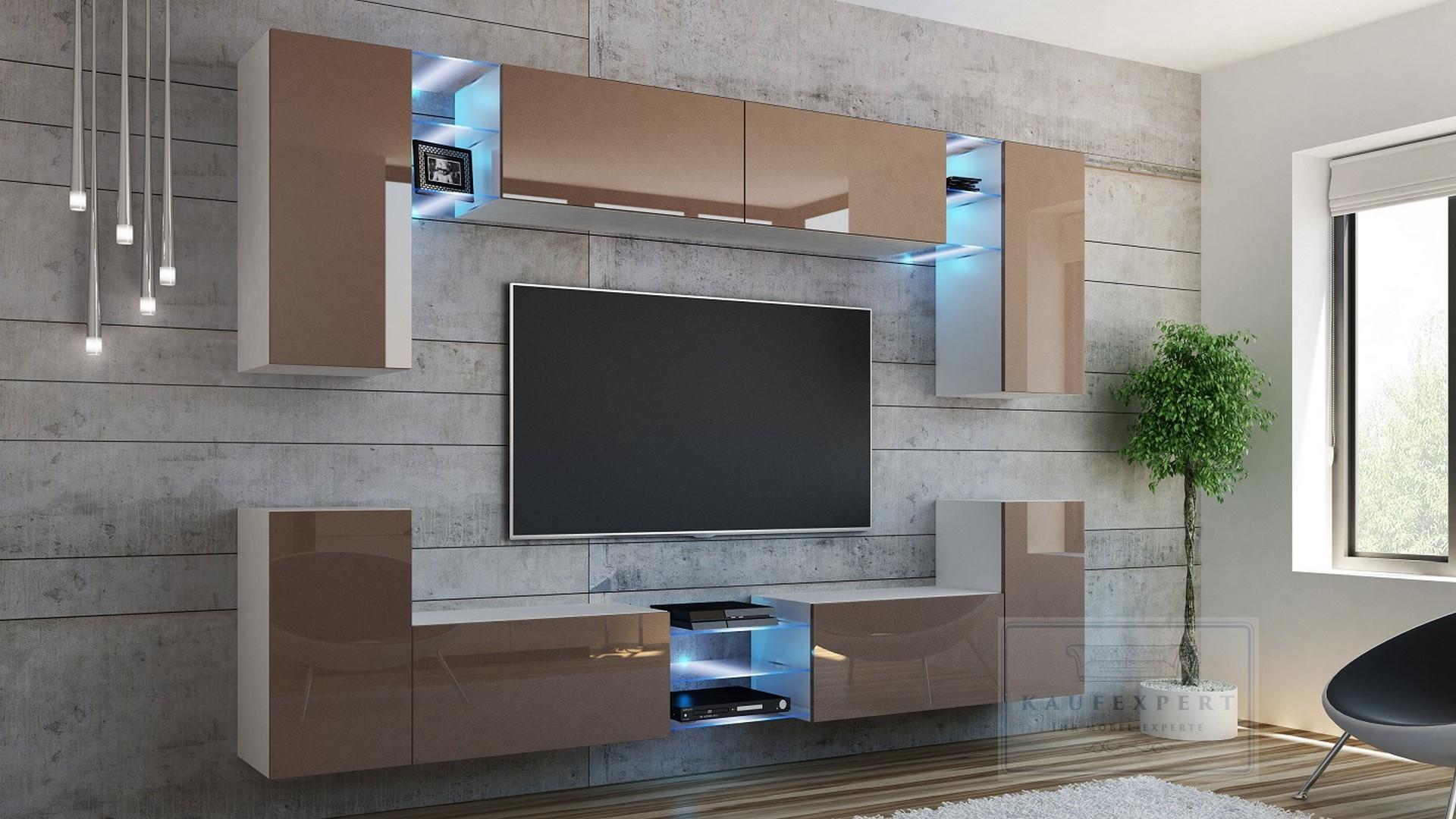 Uberlegen AuBergewohnlich Wohnwand Galaxy Cappuccino Hochglanz/ Weiß Mediawand  Medienwand Design Modern Led Beleuchtung MDF Hochglanz Hängewand
