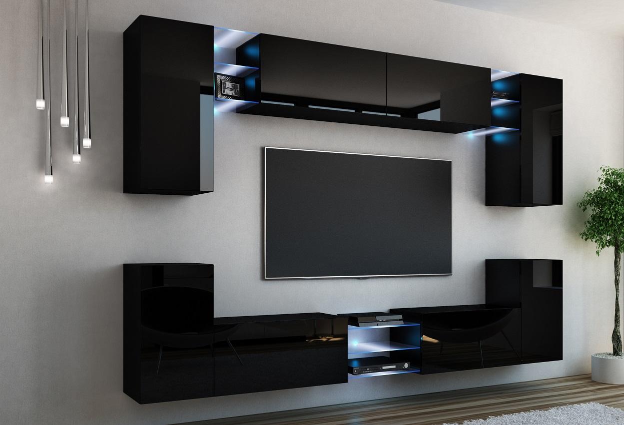 kaufexpert wohnwand galaxy schwarz hochglanz mediawand medienwand design modern led. Black Bedroom Furniture Sets. Home Design Ideas
