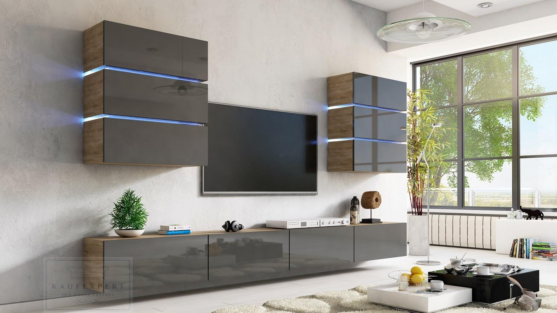 Nice Wohnwand Dream Grau Hochglanz/Sonoma Eiche Matt 332 Cm Mediawand Medienwand  Design Modern Led Beleuchtung