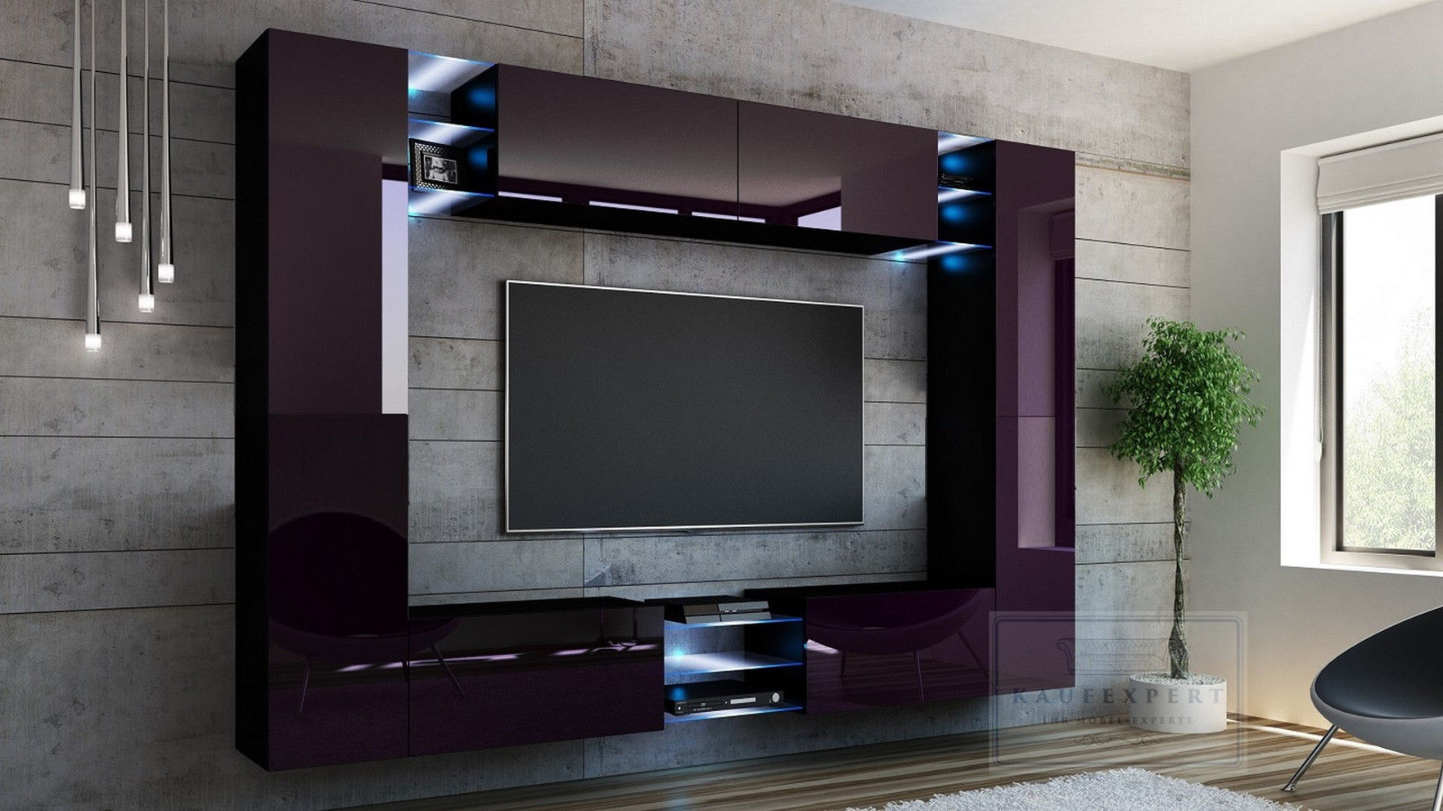 kaufexpert wohnwand kino aubergine hochglanz schwarz mediawand medienwand design modern led. Black Bedroom Furniture Sets. Home Design Ideas