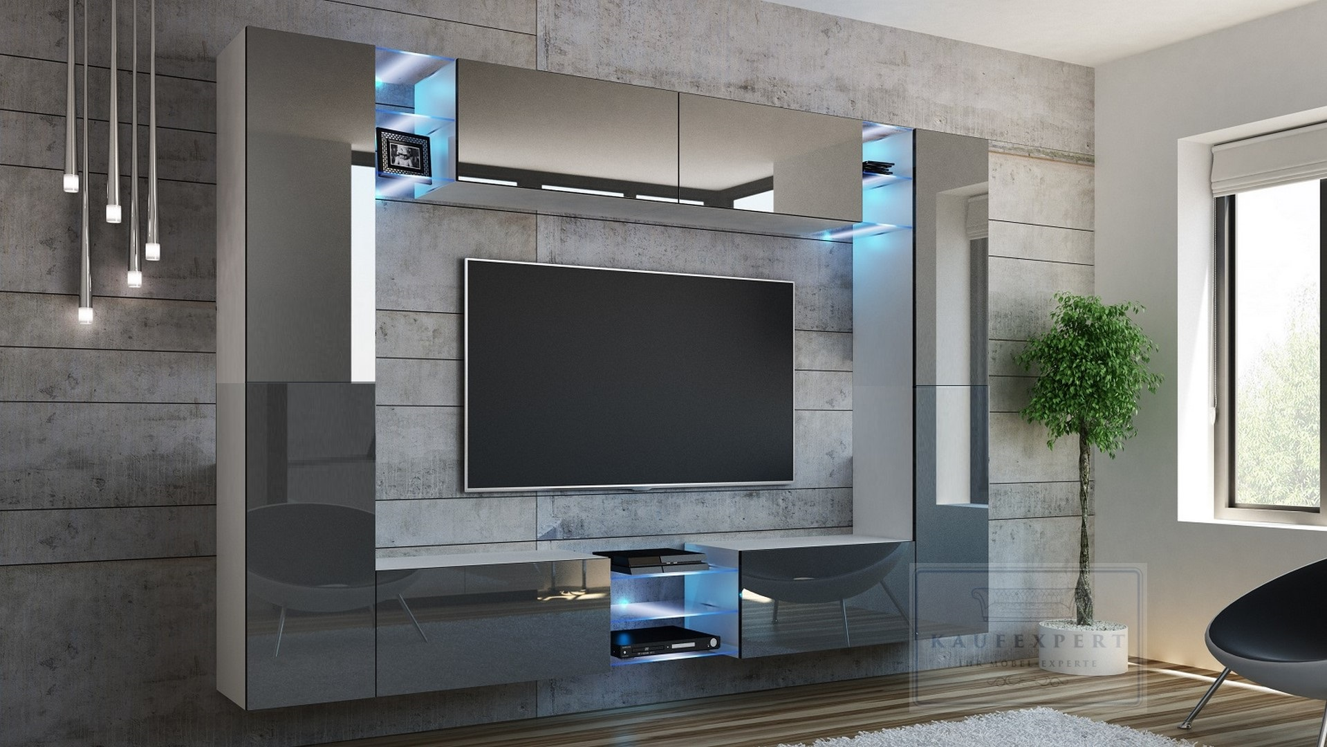 kaufexpert wohnwand kino grau hochglanz wei mediawand medienwand design modern led. Black Bedroom Furniture Sets. Home Design Ideas