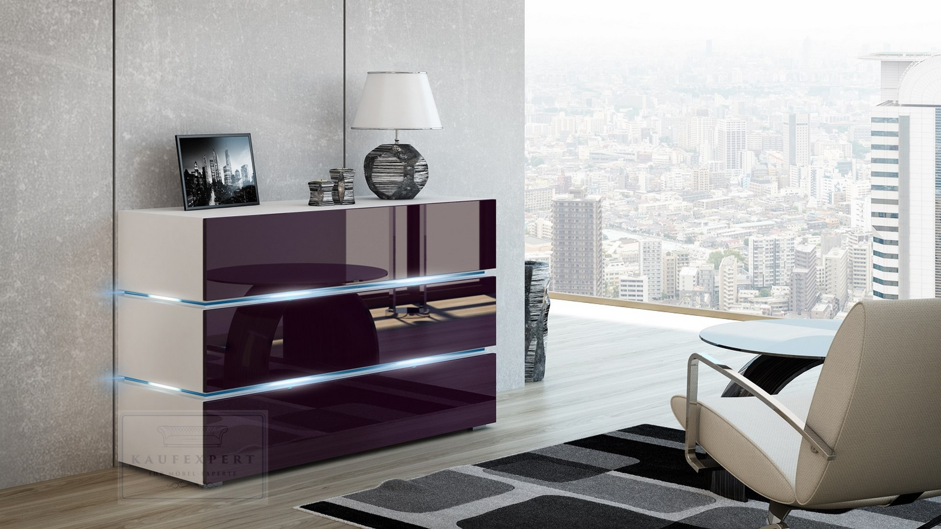 kaufexpert kommode shine sideboard 120 cm aubergine hochglanz wei led beleuchtung modern. Black Bedroom Furniture Sets. Home Design Ideas