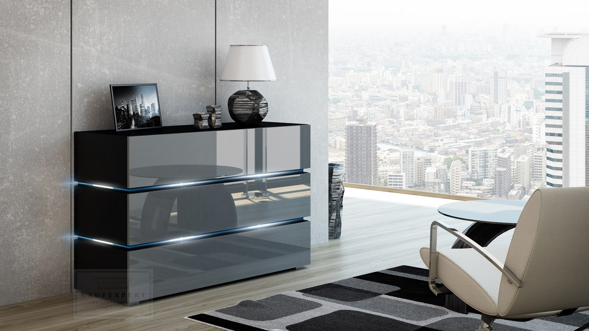 kaufexpert kommode shine sideboard 120 cm grau hochglanz schwarz led beleuchtung modern design. Black Bedroom Furniture Sets. Home Design Ideas