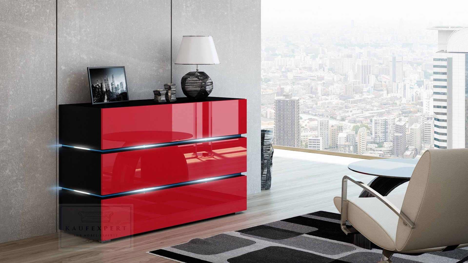 Kaufexpert Kommode Shine Sideboard 90 Cm Rot Hochglanz Schwarz Led
