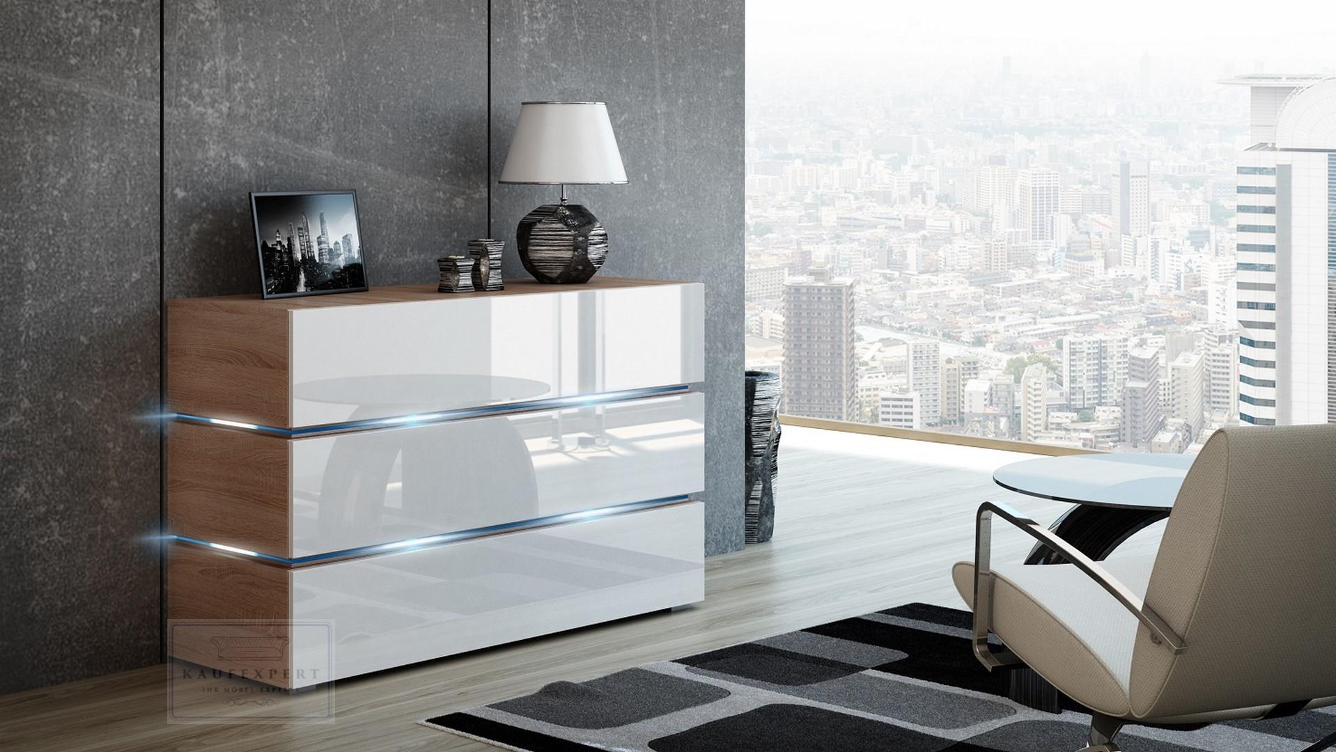 kaufexpert wohnwand dream wei hochglanz sonoma eiche matt 332 cm mediawand medienwand design. Black Bedroom Furniture Sets. Home Design Ideas