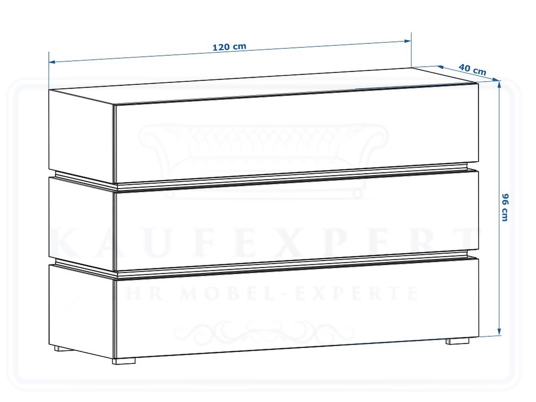 kaufexpert kommode shine sideboard 120 cm cappuccino hochglanz wei led beleuchtung modern. Black Bedroom Furniture Sets. Home Design Ideas