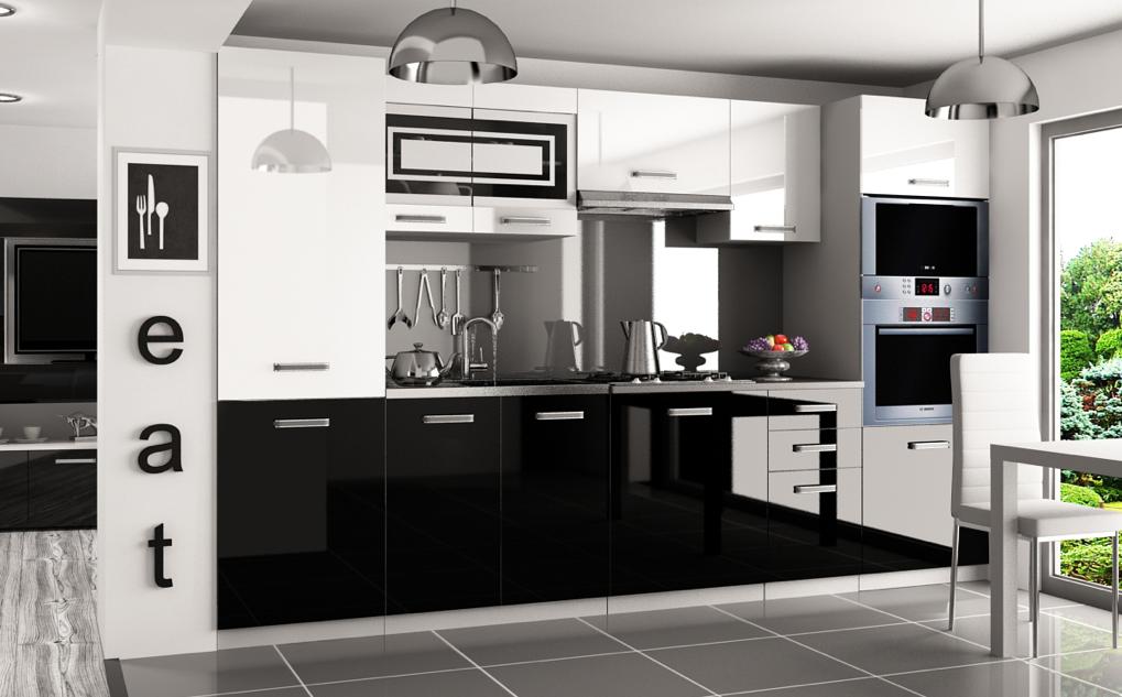 kaufexpert k chenzeile moderno wei hochglanz schwarz hochglanz 300 cm k che k chenblock. Black Bedroom Furniture Sets. Home Design Ideas