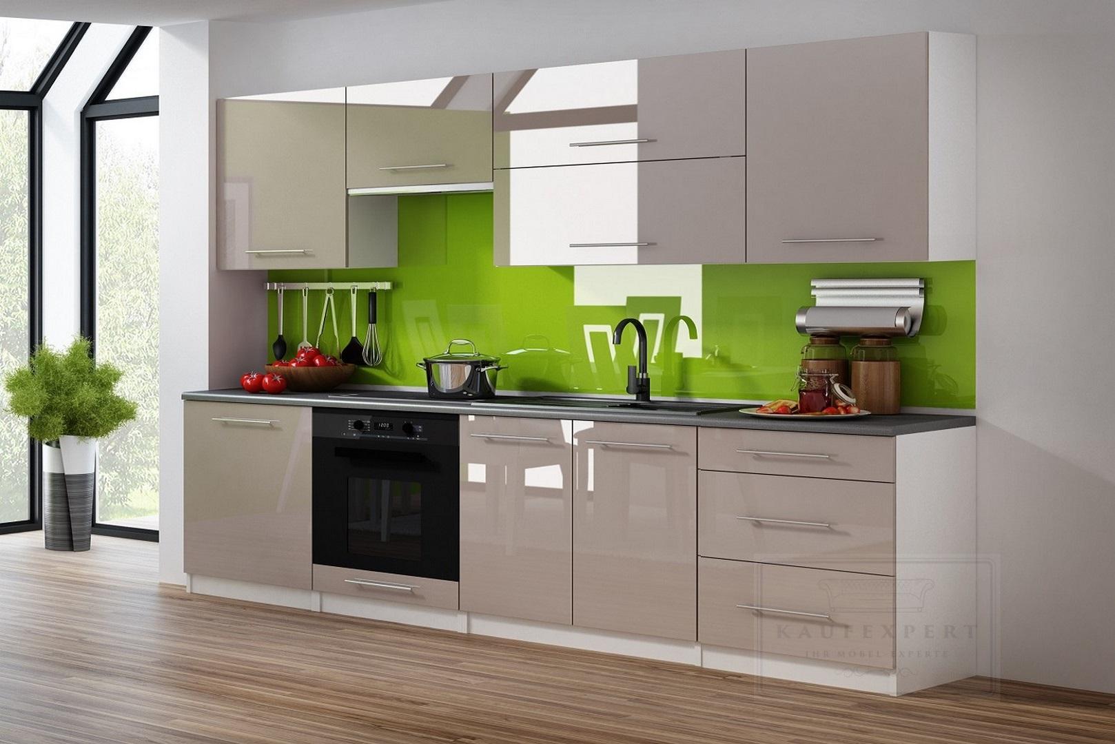 KAUFEXPERT - Küchenzeile Linda Cappuccino Hochglanz 260 cm Küche ...