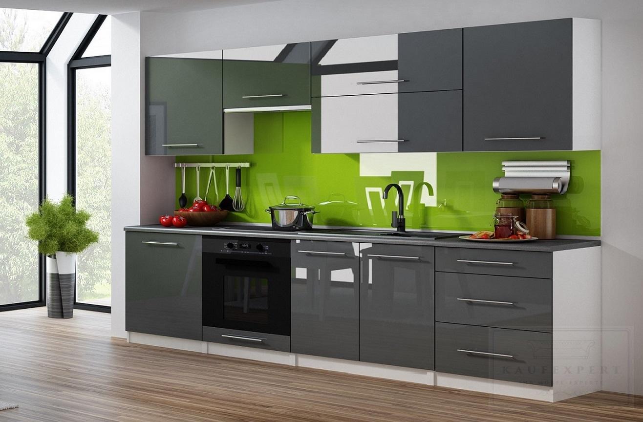 kaufexpert k chenzeile linda grau hochglanz 260 cm k che. Black Bedroom Furniture Sets. Home Design Ideas