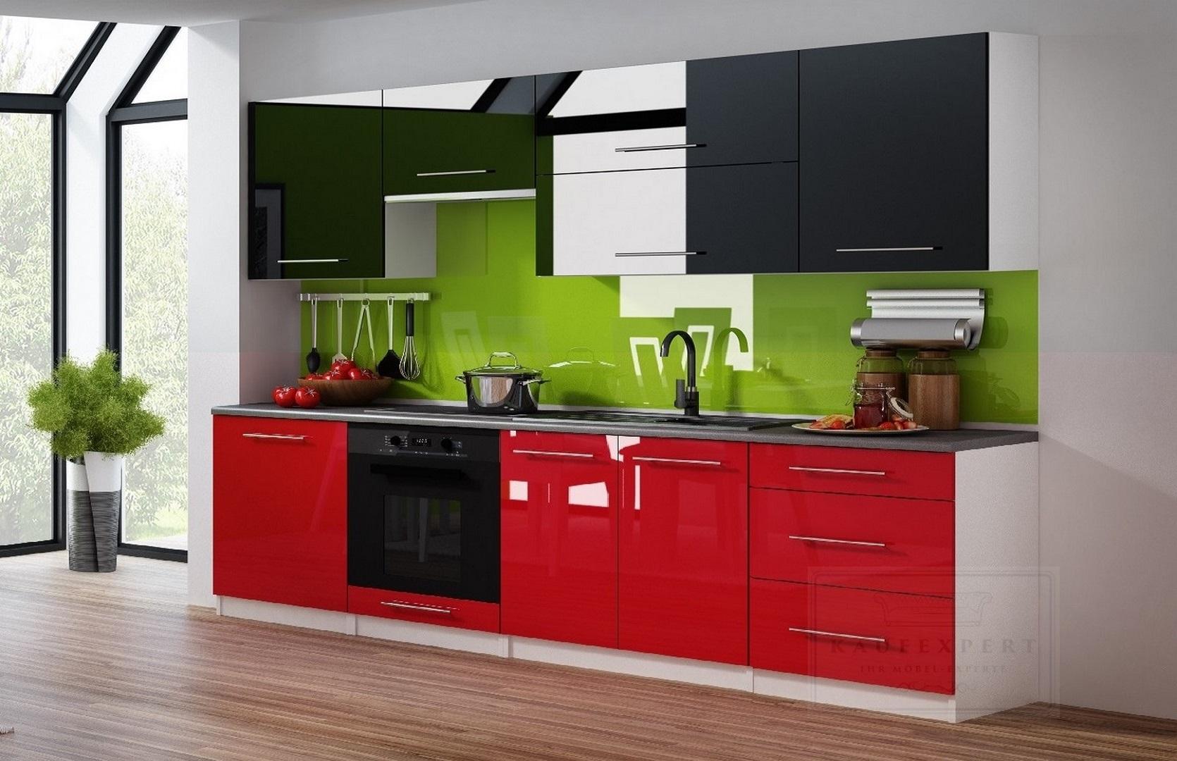 Küchenzeile Linda Schwarz/Rot Hochglanz 260 cm Küche Küchenblock MDF  Arbeitsplatte Relinggriffe Modern Einbauküche