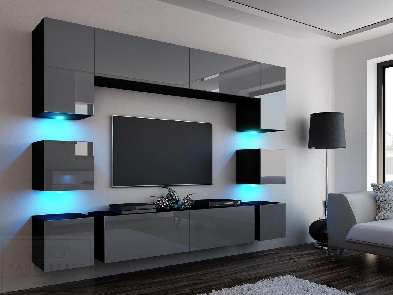 kaufexpert wohnwand quadro grau hochglanz schwarz 228 cm mediawand medienwand design modern. Black Bedroom Furniture Sets. Home Design Ideas