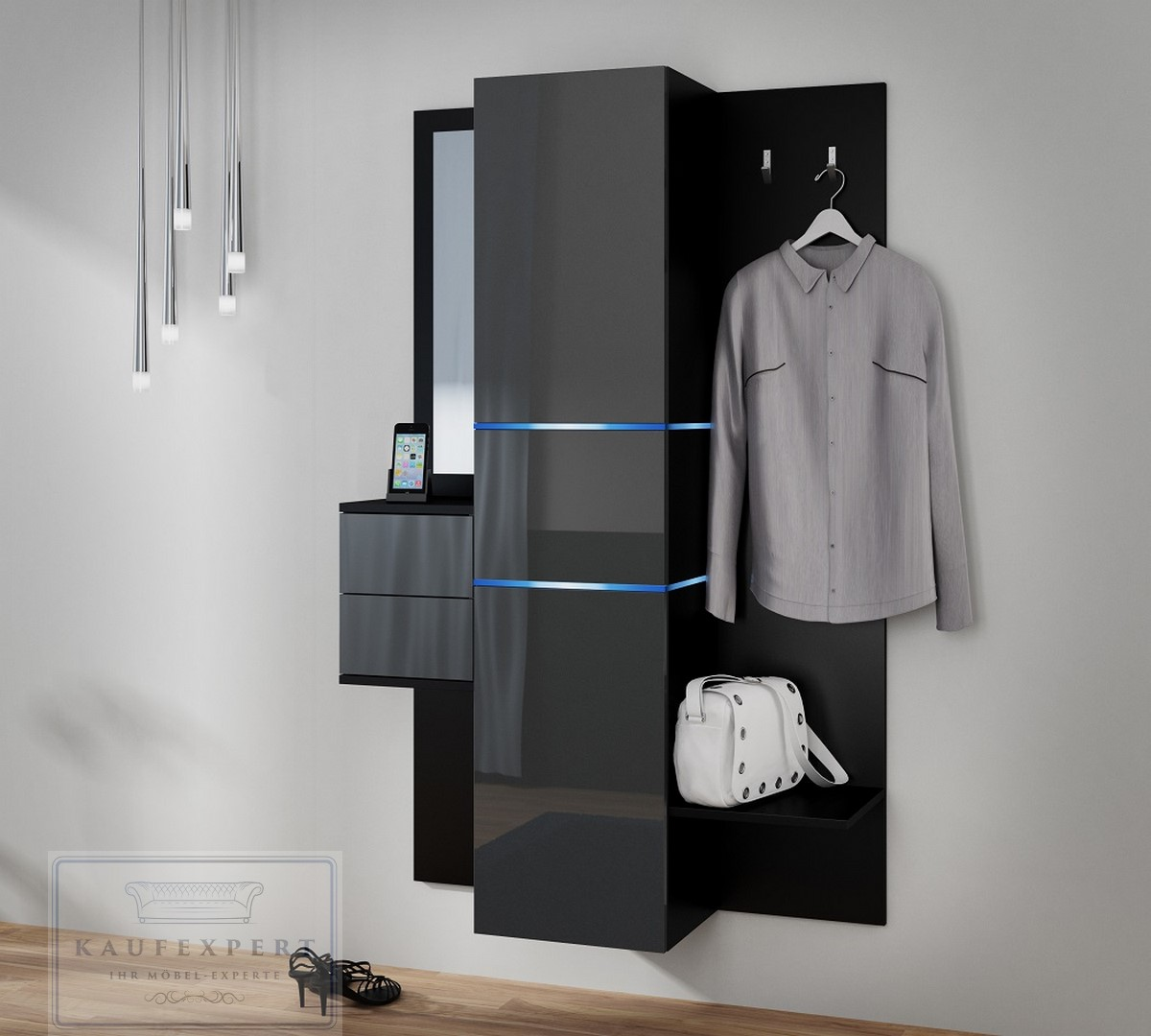 kaufexpert garderobe camino grau hochglanz schwarz mit. Black Bedroom Furniture Sets. Home Design Ideas
